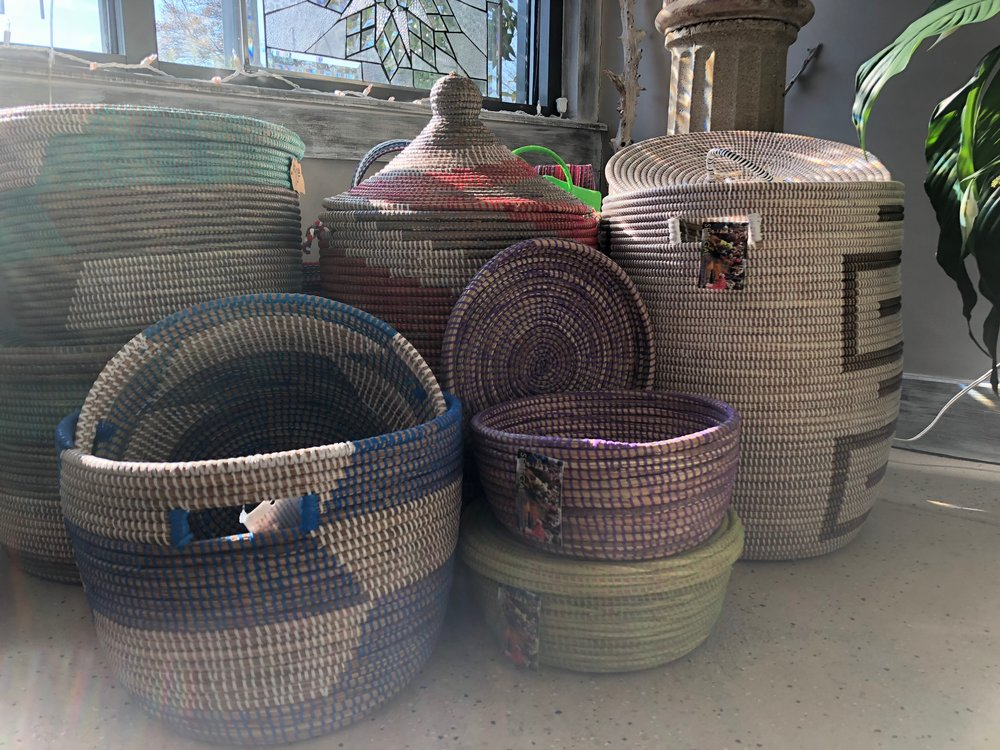 Swahili Baskets - Fair Trade!  Hand-made by Women in Senegal with cattail stalks and recycled prayer mat plastic.  Beautiful additions to any home!