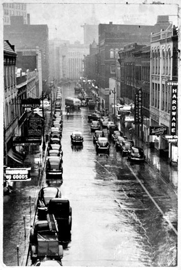 Looking down Cherry Street in 1949.