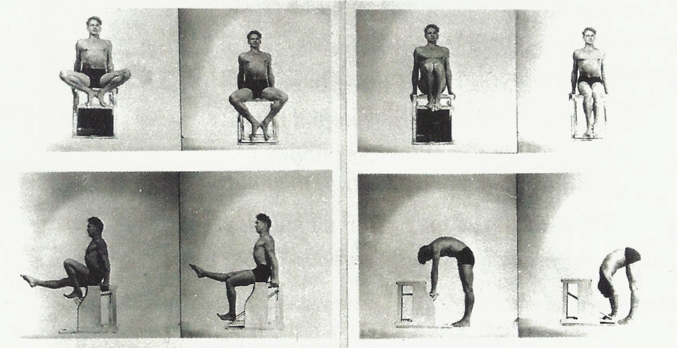 Joe Pilates demonstrating some of the beginner to intermediate exercises on his Wunda chair. Exercises are more upright so they require more balance, coordination and strength than some of the more supported exercises done on the Reformer, Mat or Cadillac/Trapeze Table.