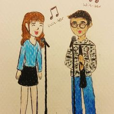 "Dec. 13 A hand drawn thank you note for Louis who sings and plays clarinet on the album track, ""Winter."""