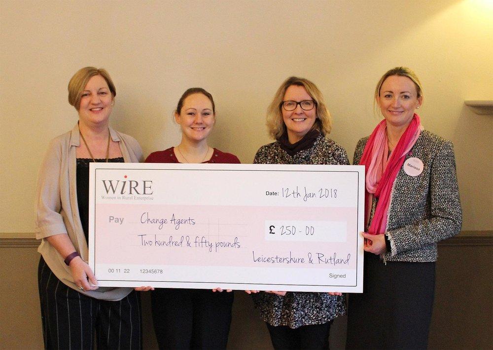 WiRE network leaders Jane Batty, Megan Allen, Claire McFadden with Marissa Watts, CEO of Change Agents UK