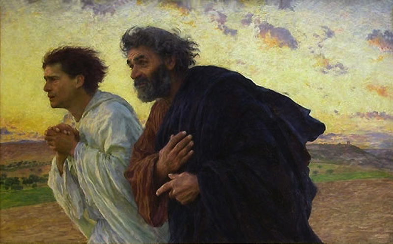 Disciples John and Peter on their way to the tomb on Easter morning. 1898. Eugene Burnand (1850-1921). Musee d'Orsay, Paris, France.