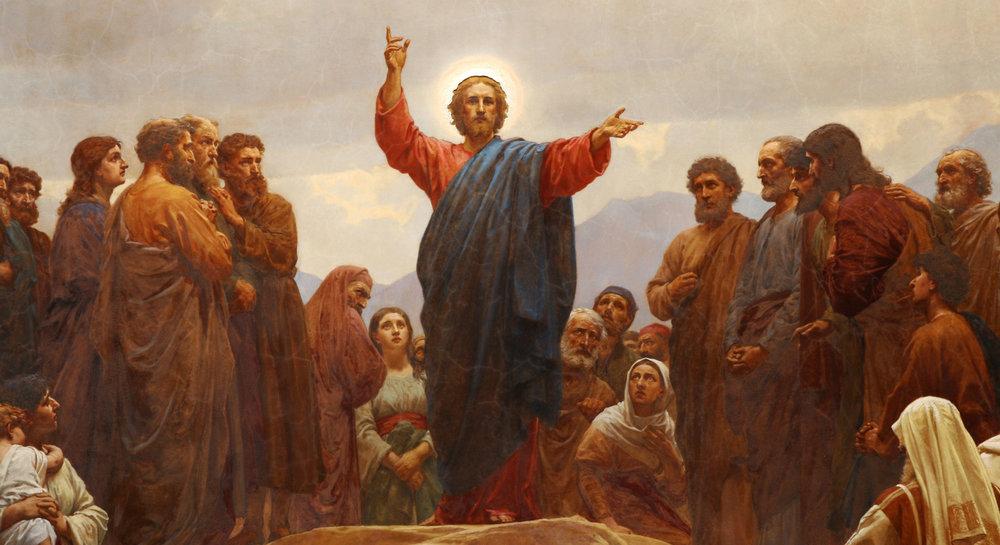 """Detail of St. Michael's Copenhagen altarpiece by Henrik Olrik (1830-1890) depicting the """"Discourse of the Plains"""" or """"Sermon on the Mount""""."""