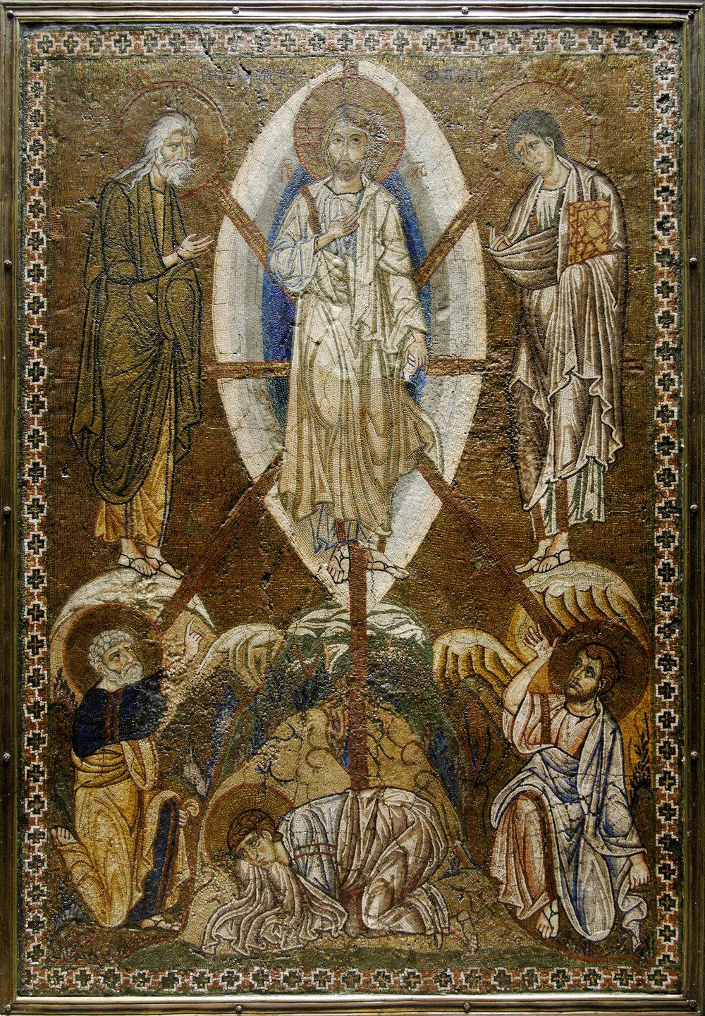 12th century Byzantine Icon, mosaic on stucco, of the Transfiguration of Christ.