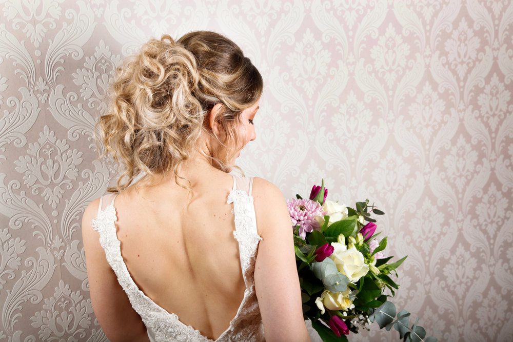 bridal shoot back of hair shot