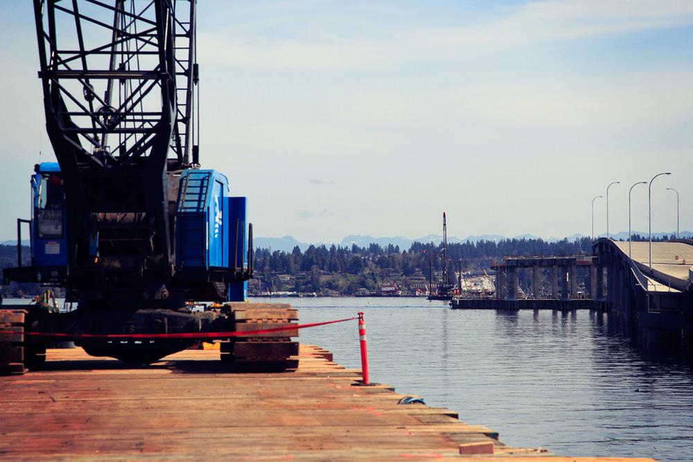 Crane Mats Over Water