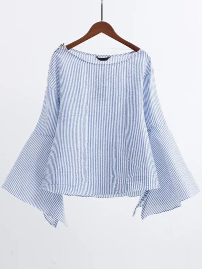 Blue Boat Neck Bell Sleeve Blouse