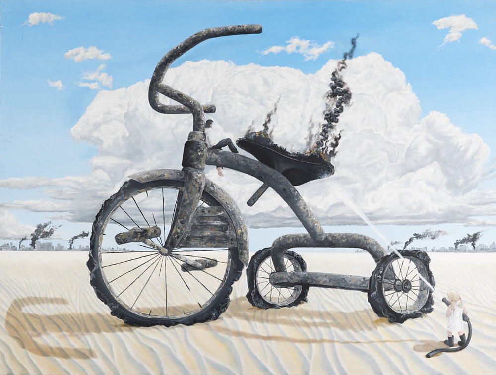 The Zionist Tricycle - 2014 - Oil on Canvas - 101cm x 72cm