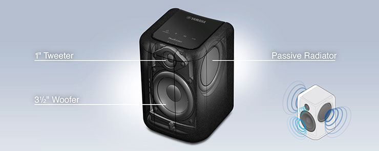 With a two-way speaker design plus two passive radiators, this speaker will surprise you by how well it fills a room with robust, dynamic sound, despite its compact size. It also supports playback of high-resolution audio formats such as WAV, FLAC and ALAC.