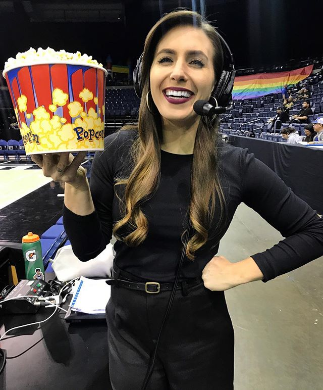 Oh, she happy.  Bottomless popcorn at the @stocktonkings game tonight, can I eat and call the game at the same time? Find out on Facebook LIVE