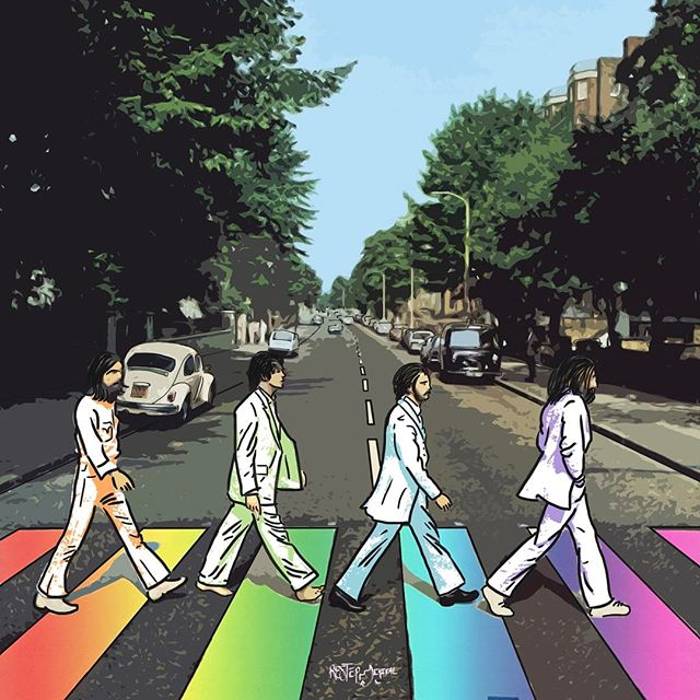 """A b b e y R o a d 🎸 (5/5) - all together now 🎶. After its release in late 1969, Abbey Road spent 11 weeks at #1 in the U.K., unseated briefly by the Rolling Stones' """"Let it Bleed"""" and later, more permanently, by Led Zeppelin II. It is certified 12x Platinum in the USA. Thanks for following along this week!! What album cover do you want to see us take on next??"""