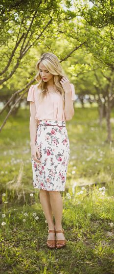 Taupe Floral Pencil Skirt