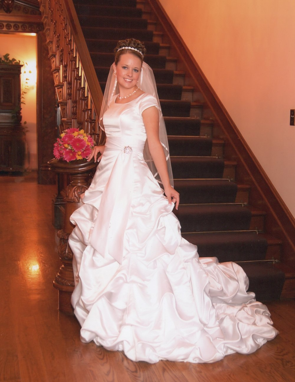 Rachel's Ruffless on this beautiful modest wedding dress