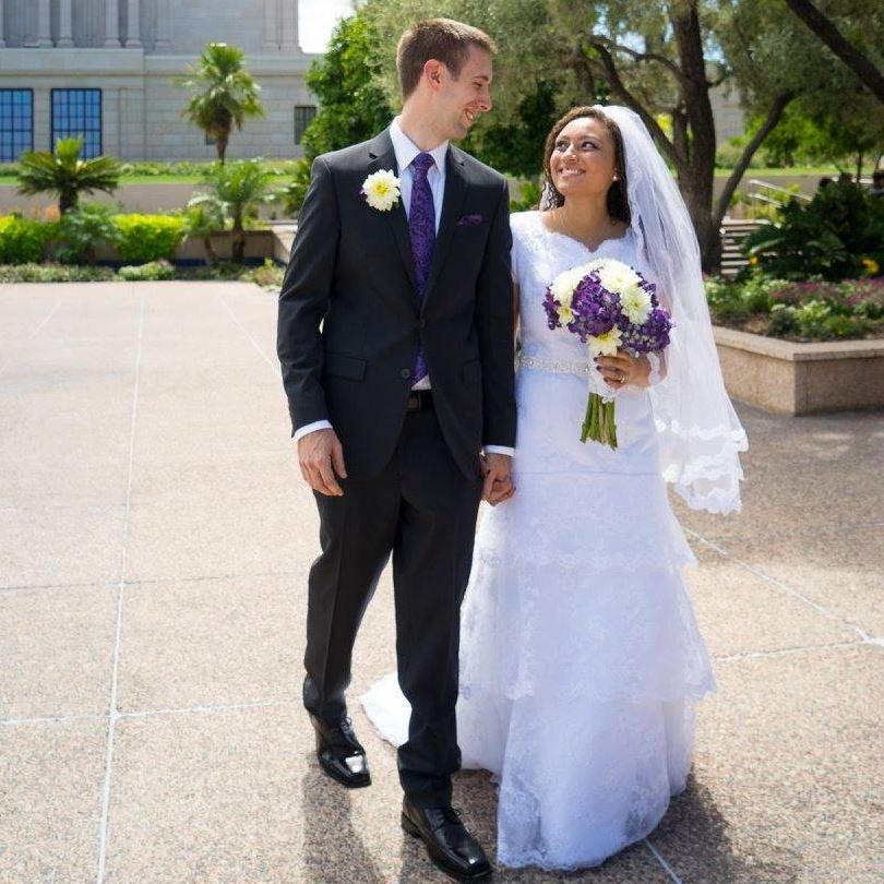 Jasmine is stunning in this Gorgeous Modest Wedding Dress
