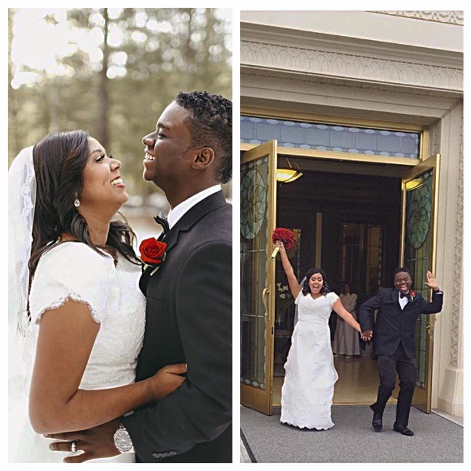Alicia and her husband celebrate at the Mesa Temple, she is stunning in her modest wedding dress