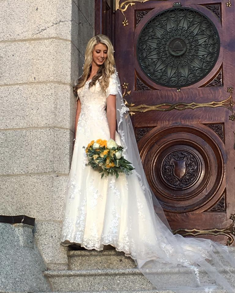 Angie's Classic Look - made special with her stunning modest wedding dress