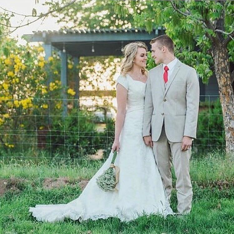 Bailey is timeless and stunning in her modest wedding dress from A Closet Full of Dresses