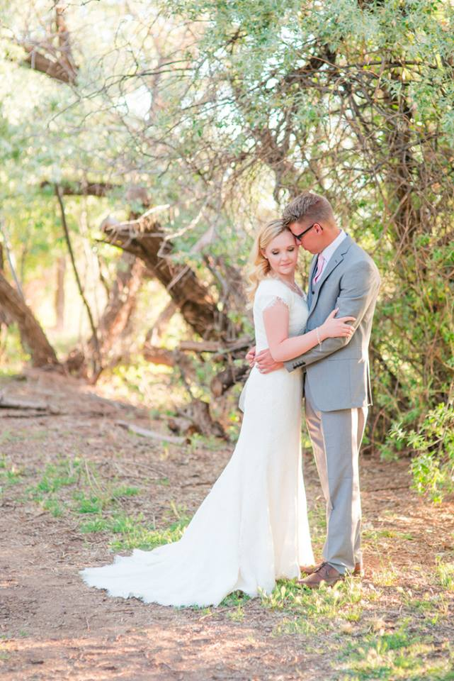 Lachelle is picture perfect in her stunning modest wedding dress