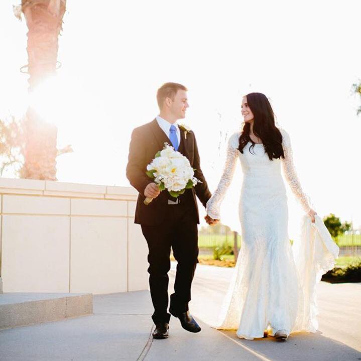 Sarah Glows - with a perfectly timeless modest wedding dress