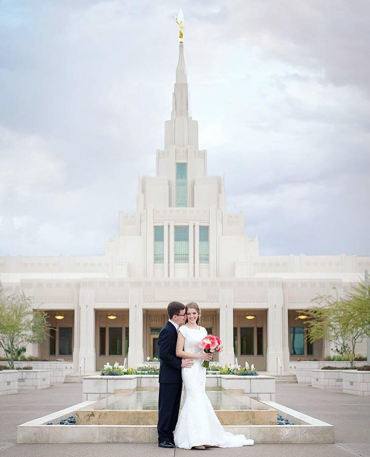 Savannah is gorgous at the Phoenix Temple in her modest wedding dress