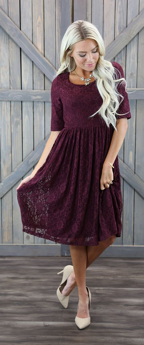 Emmy Burgundy Modest Bridesmaids Dress