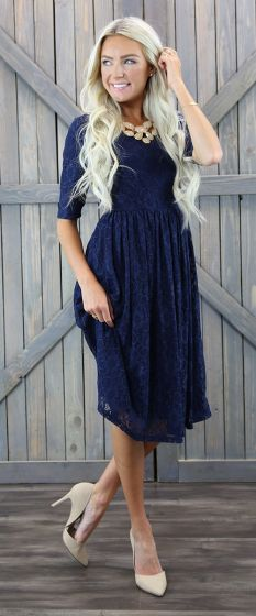 Emmy Navy Modest Bridesmaids Dress