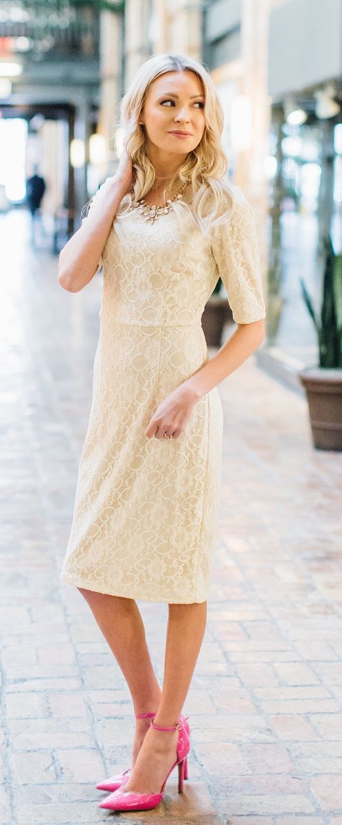 June Cream Modest Bridesmaids Dress