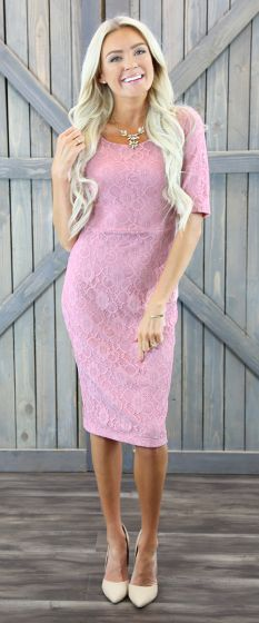 June Pink Modest Bridesmaids Dress