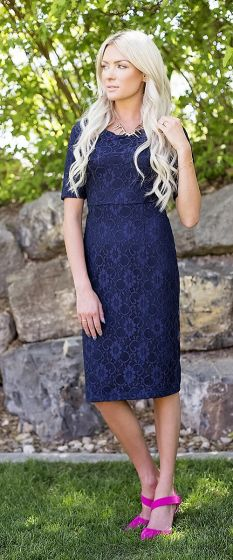 June Navy Modest Bridesmaids Dress