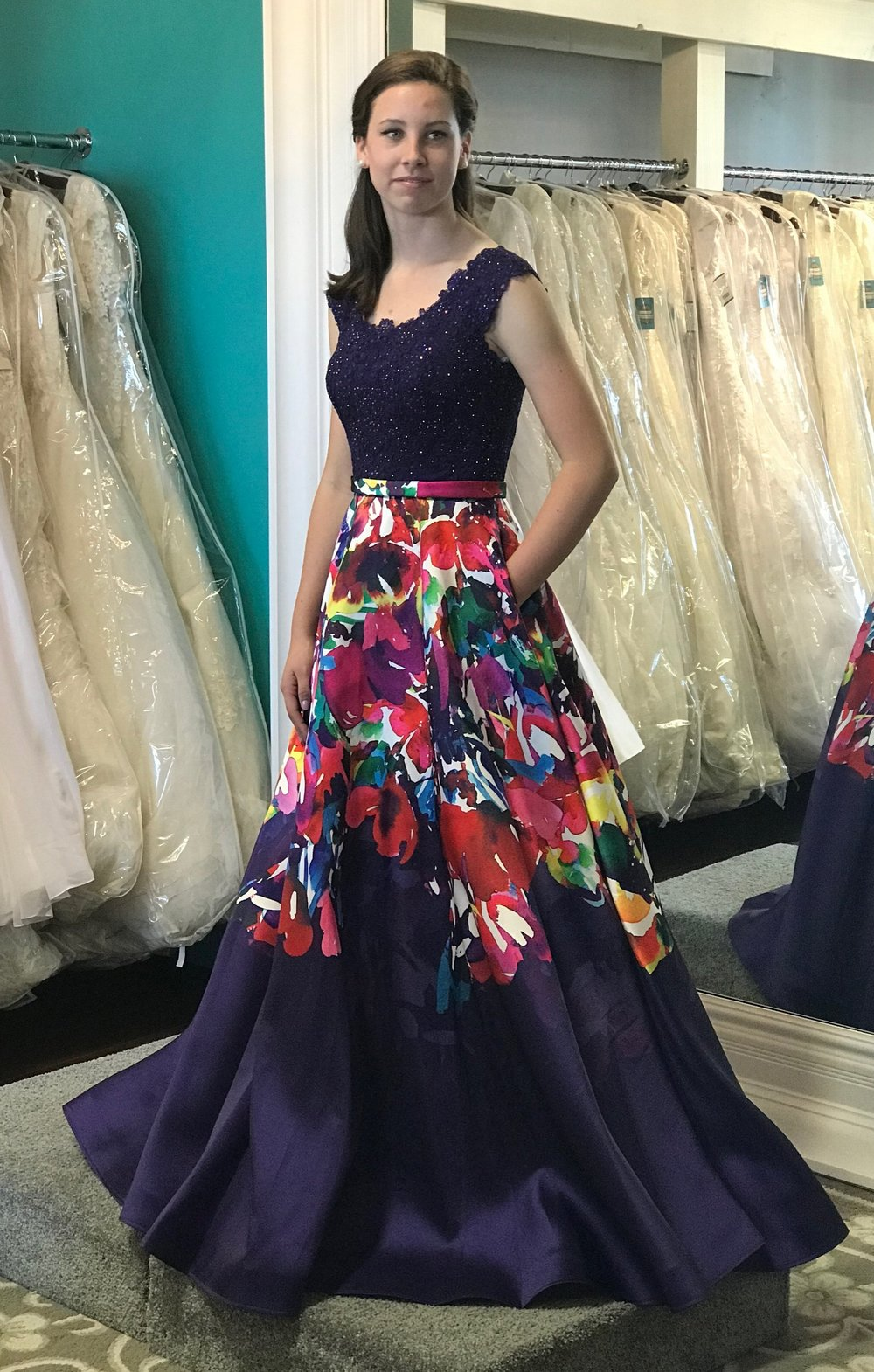 Allure 17-322M Navy/Floral Modest Prom