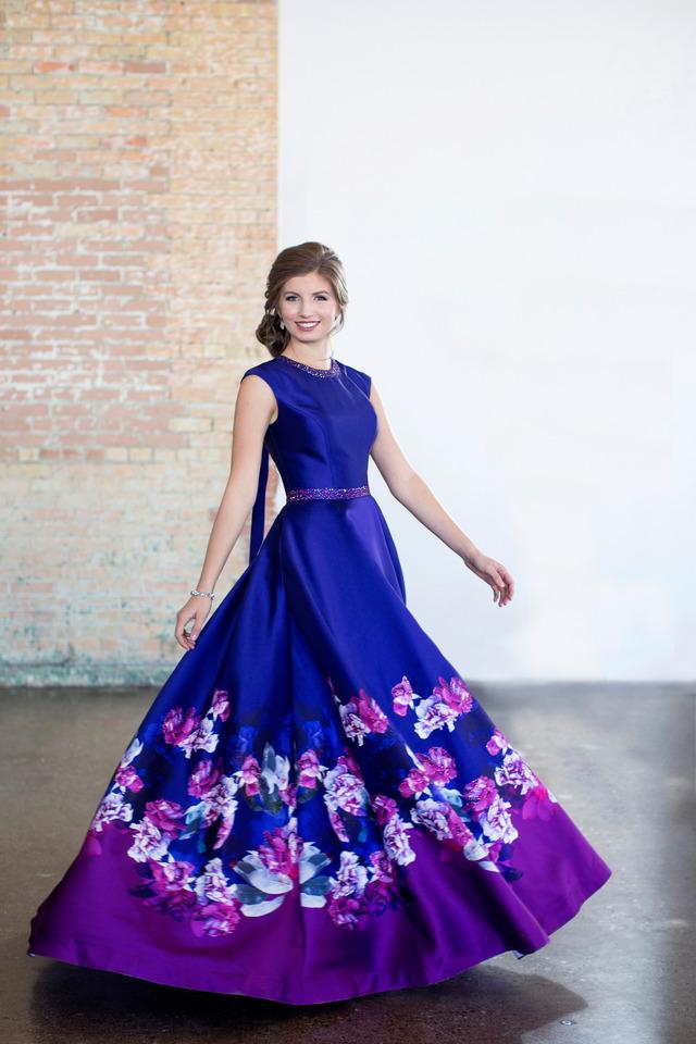 Ellie Wilde M118192 Purple/Multi Modest Prom