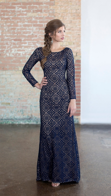 Colette CLM18335 Navy Modest Prom