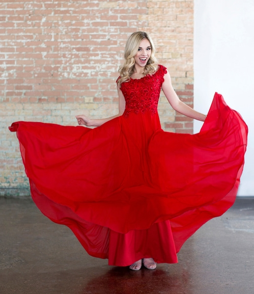 Colette CLM18337 Red Modest Prom
