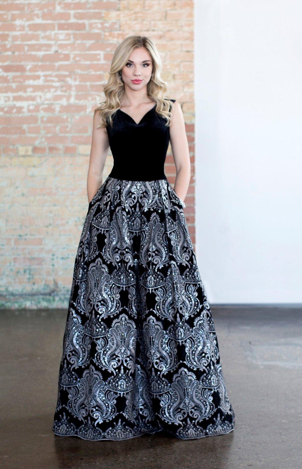 Colette CLM18331 Black Velvet Modest Prom