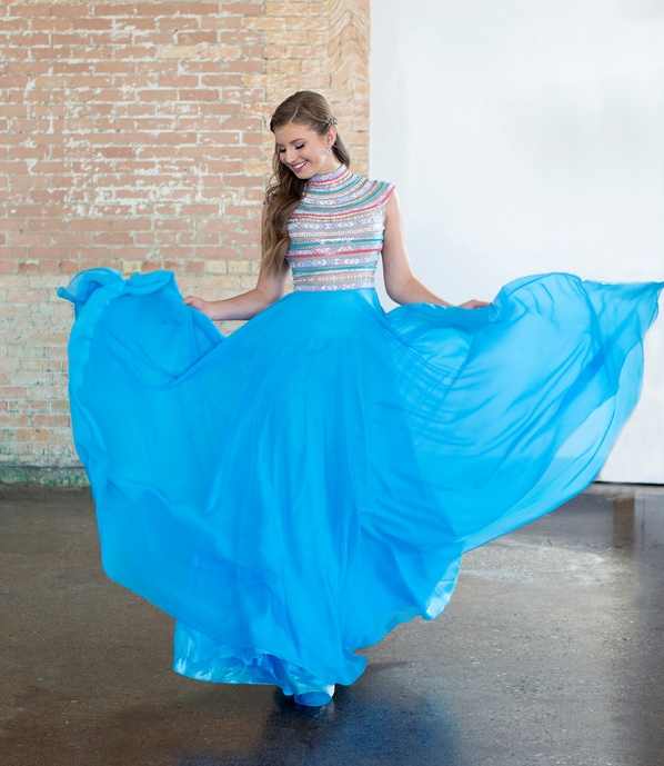 Ellie Wilde M118190 Pacific Blue Modest Prom