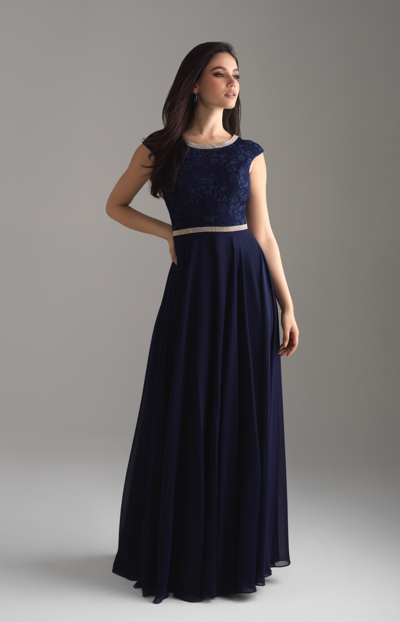 Allure 802 Navy Modest Prom