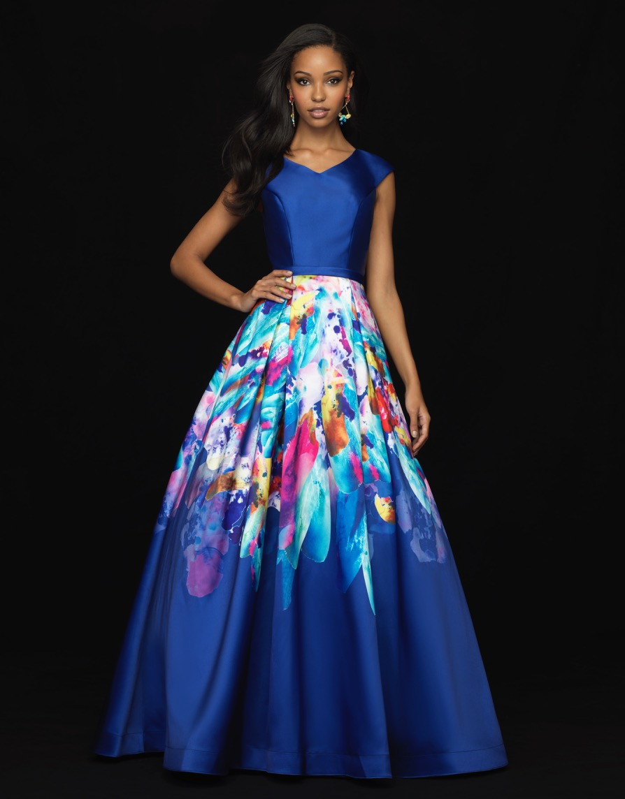 Allure 18-813M Floral  Modest Prom