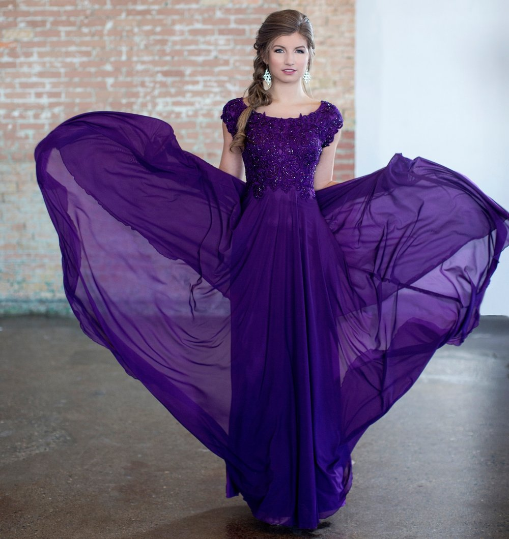 CLM18332 Modest Prom Dress - flowy skirt in Plum color.