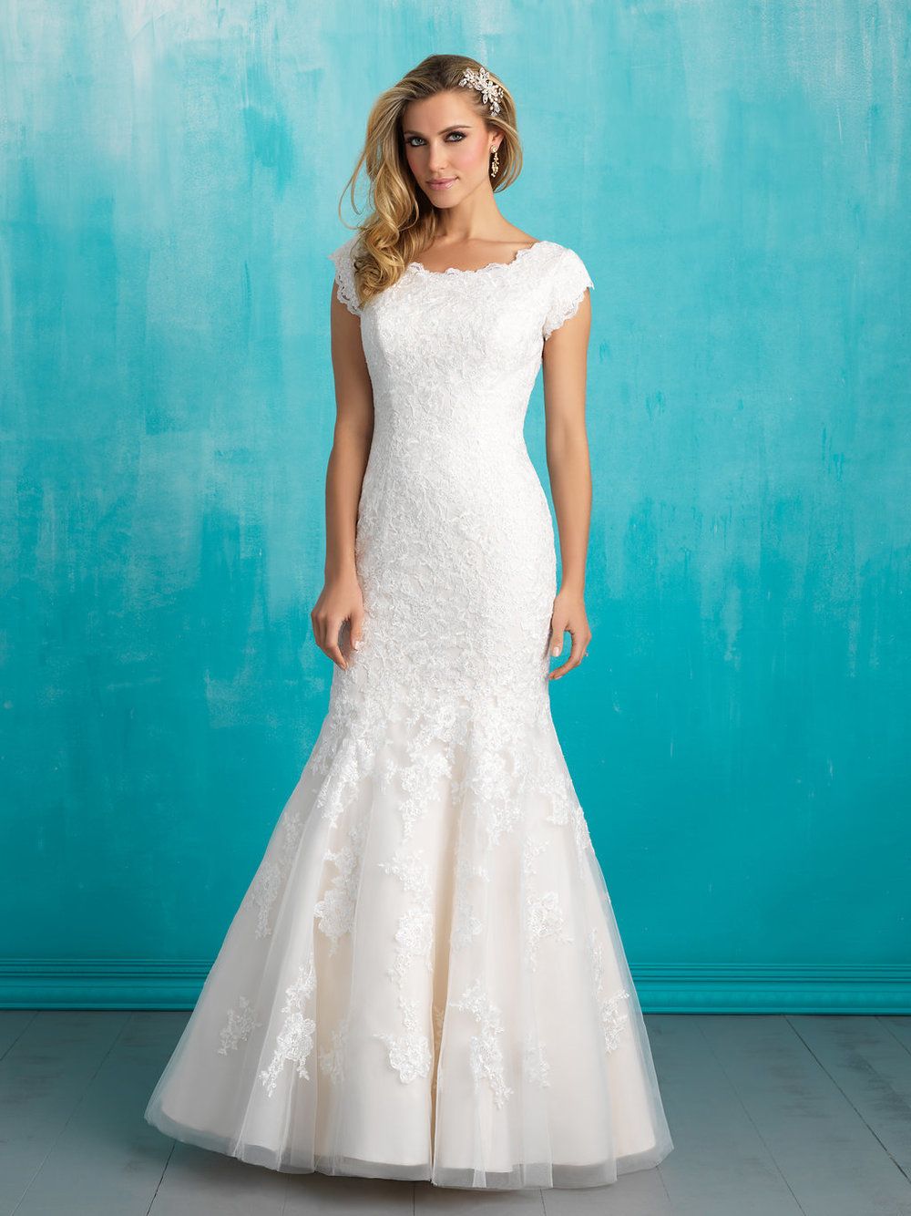 Allure M555 Modest Wedding Dress