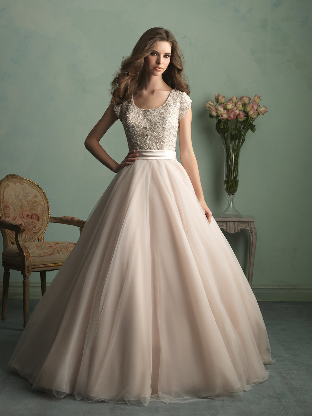 Allure M524 Modest Wedding Ballgown