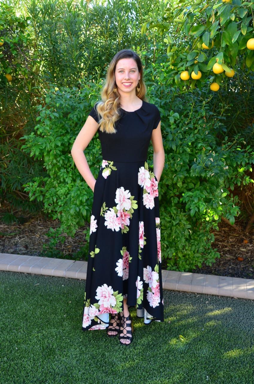 Linda Black Floral - $240