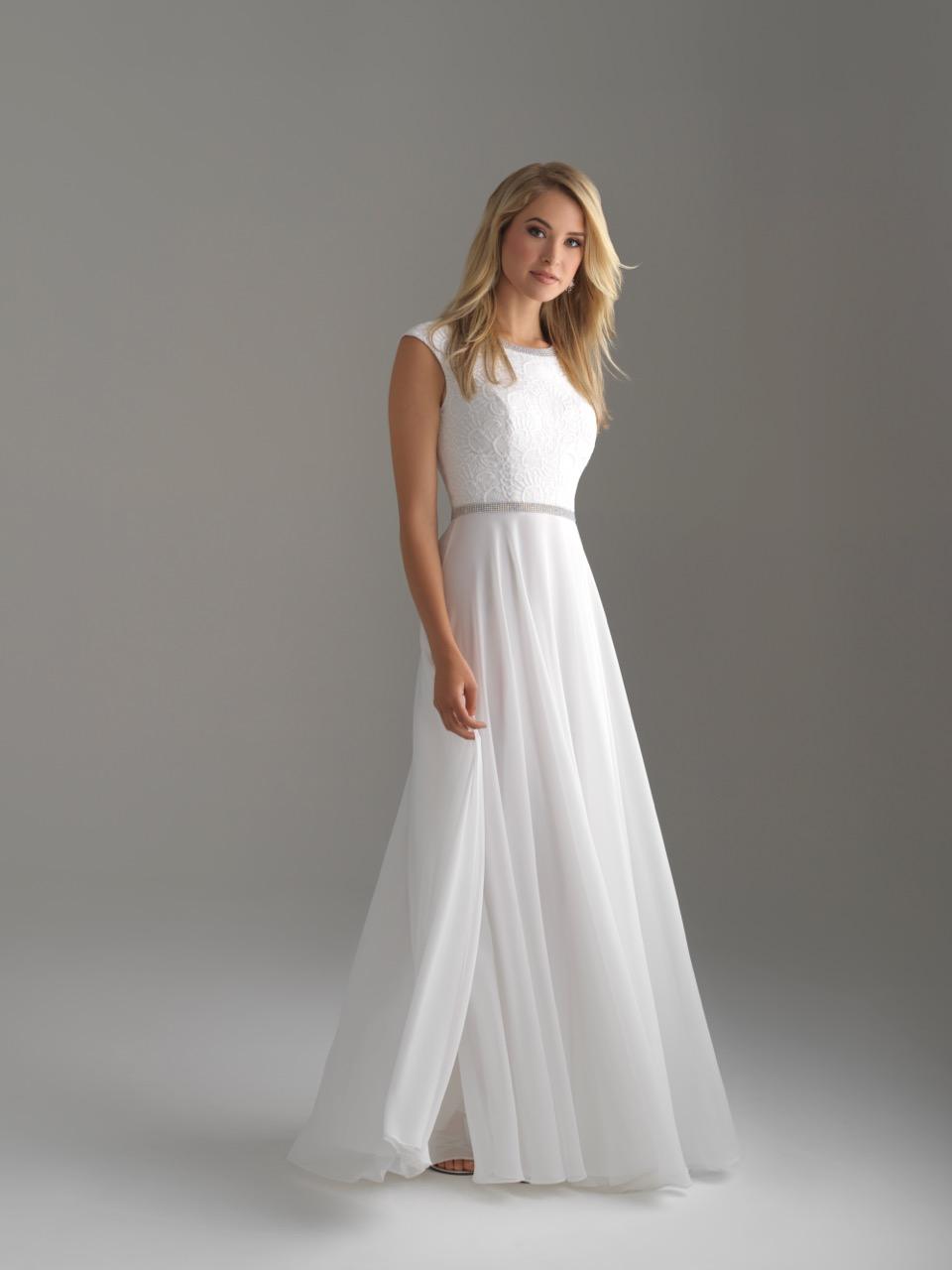 Allure 18-802M White Modest Prom