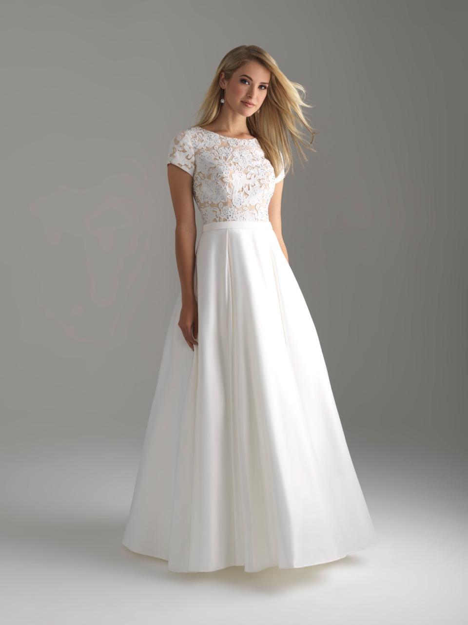 Allure 18-804M White Modest Prom