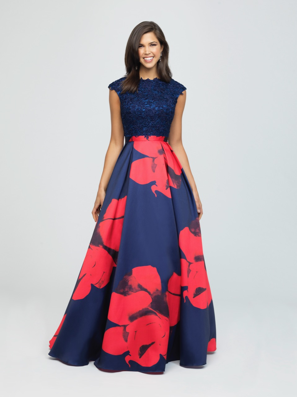 Allure 19-252M Navy/Red Modest Prom