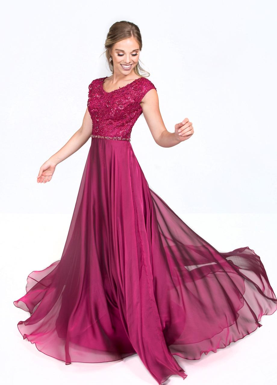 Ellie Wilde M119201 Cranberry Modest Prom