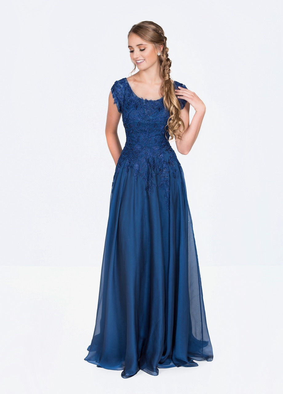 Ellie Wilde M119202 Periwinkle Modest Prom