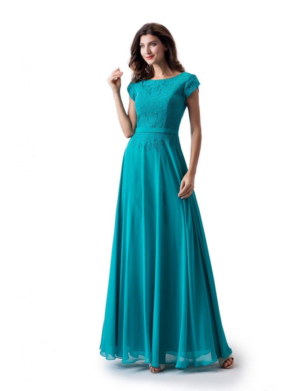 Venus TP5662 Turquoise Modest Prom