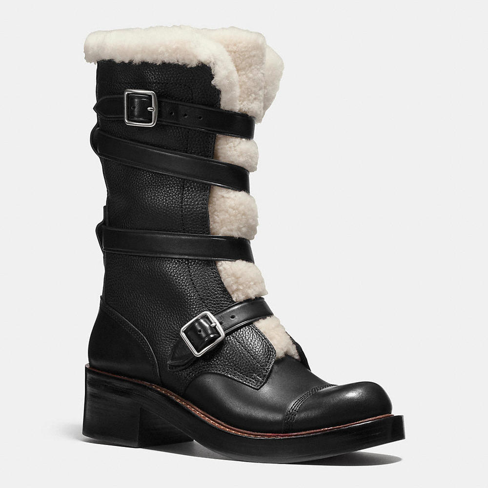 Coach Shearling-Trim Biker Boot