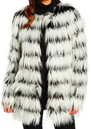 Patterned Faux Fur Coat