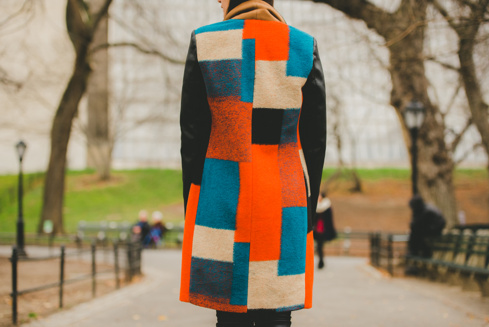 BCBG Max Azria Color Block Coat - Central Park- NYC Style